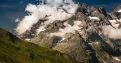 4K, Time Lapse, Cloud Formation At Col Du Lautaret, France - Neutral Version, Stock Footage