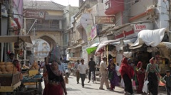 Busy MG road to Manek chowk,Porbandar,India Stock Footage
