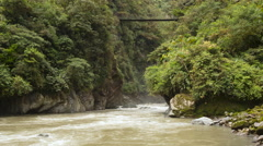 Time-lapse view of a footbridge crossing the Pastaza gorge near Banos Stock Footage