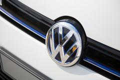 Berlin, Germany - May 21, 2016: Volkswagen sign Stock Photos