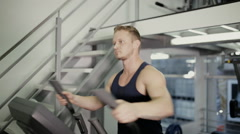 Male athlete training cardio exercise Stock Footage