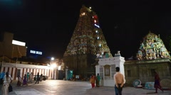 Static shot of South Indian Temple at night, Stock Footage