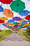ASTANA, KAZAKHSTAN - 14 JULY, 2016: Installation from multi-colored umbrellas Stock Photos