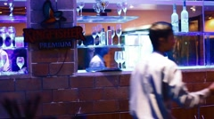 Camera pans over the bar counter Stock Footage