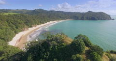 Aerial of New Chums Beach, Whangapoua, Coromandel Peninsula, New Zealand Stock Footage