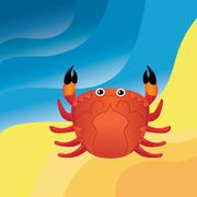 Crab on the sand Stock Illustration