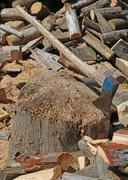 Ax of the woodcutter on the block of wood in the woodshed Stock Photos