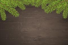 Christmas tree top frame on wood plank background Piirros