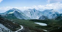 4K, Time Lapse, Mountain Range At Gias Bandia, Italy - Cold Version, Pan Stock Footage