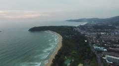 Aerial view a amall island on Kata  beach Stock Footage