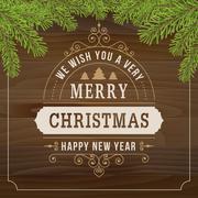 Merry christmas vintage line art on wood plank  background Stock Illustration