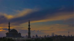 Sunrise at Federal Mosque of Kuala Lumpur Stock Footage