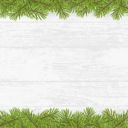 Christmas tree frame on wood plank white background Piirros