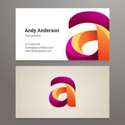 Modern letter A twisted Business card template Stock Illustration