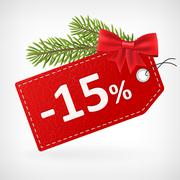 Red leather price christmas labels 15 percent sale off Stock Illustration