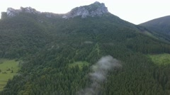 Aerial view of fir forest and rocky hill, Slovakia Stock Footage