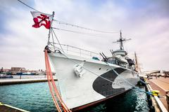 Warship in Gdynia Stock Photos
