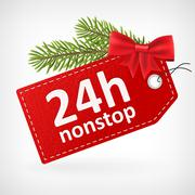 Red leather price christmas labels twenty-four hour nonstop Stock Illustration