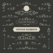 Vintage vector labels and scroll elements Stock Illustration