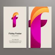 Modern letter f twisted Business card template Stock Illustration