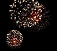 Show with large colorful fireworks in the dark sky Stock Photos