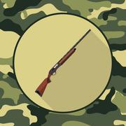Flat icon shotgun,item in camouflage Stock Illustration