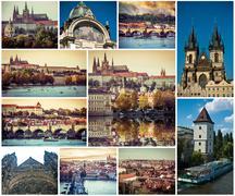 Collage of Prague sights, Czech Republic Stock Photos