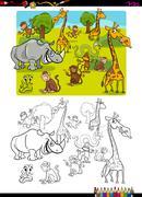 Safari animals coloring page Stock Illustration