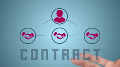 Animation hand organizes contract Stock Footage