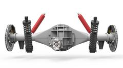 Rear axle assembly with suspension and brakes. Red dampers. 3d illustration Piirros