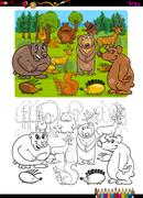 Animals group coloring page Stock Illustration