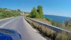 Drive along Sithonia county route by car. FPV view. Chalcidice, Greece Stock Footage