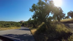 Drive along Sithonia county with olive fields by car. FPV view, Timelapse Stock Footage