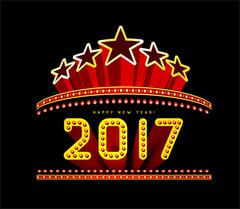 New Year marquee 2017 Stock Illustration