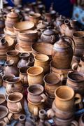 Different wooden handmade kitchenware Stock Photos