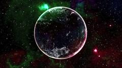 3D  Space Flight Planet Earth Nebula Stars Vj Loop - stock footage
