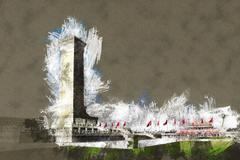 Monument to the People's Heroes on Tian'anmen Square, Beijing Stock Illustration