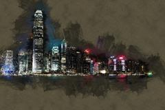 Hong Kong Island with scyscrapes illuminated by night Stock Illustration