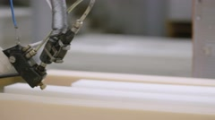 Man on the manufacture making mattresses Stock Footage