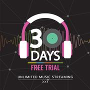 30 Days Free Trial Unlimited Music Streaming  Illustration Stock Illustration