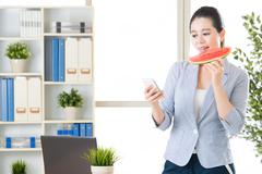 Text a day keeps the motivation alive, eating watermelon keep fresh Stock Photos