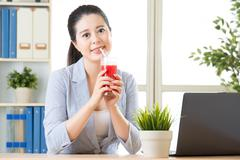 Fresh watermelon juice is much better than concentrate fruit juice Stock Photos