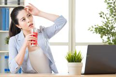 drinking watermelon juice help reduce body temperature, for better performanc - stock photo