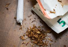 close up of marijuana joint and money - stock photo