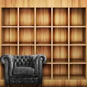 Classic black leather armchair with Wooden book Shelf background. Stock Illustration