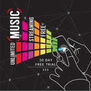 Unlimited Music Streaming Vector Illustration Stock Illustration