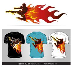 Boxing sport with fire. T-shirt design. Vector illustration. Stock Illustration
