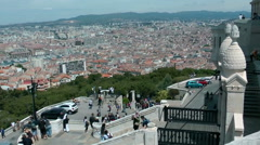 Panoramic view of the city, shot from Notre Dame de la Garde Stock Footage