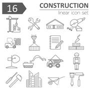 Construction and house repair icon set. Thin line design Stock Illustration