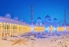Sheikh Zayed Grand Mosque at dusk, Abu-Dhabi - stock photo